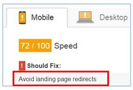 avoid landing page redirect