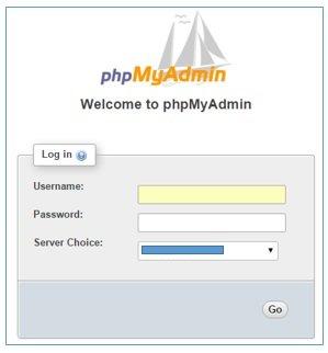 welcome phpmyadmin