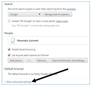 advanced chrome settings