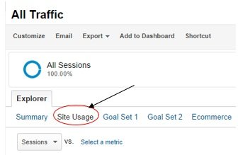 site usage tab