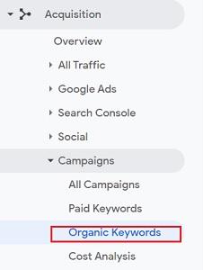 organic keywords google analytics