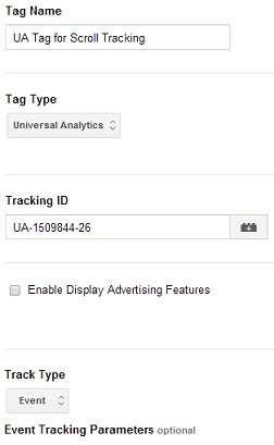 UA Tag for Scroll Tracking