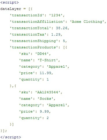 ecommerce data layer output