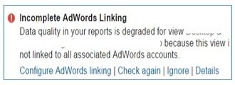 incomplete adwords linking