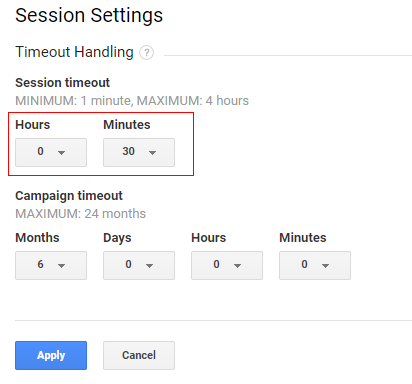 google analytics sessions timeout handelling
