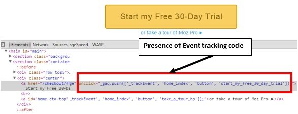 presence of event tracking code