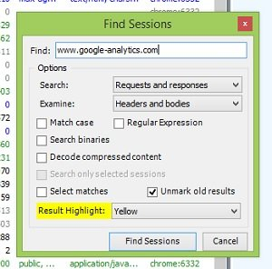 find sessions dialog box