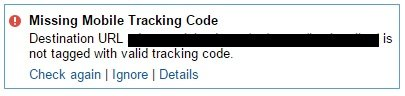 missing mobile tracking code