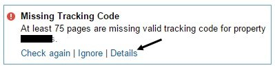 missing tracking code