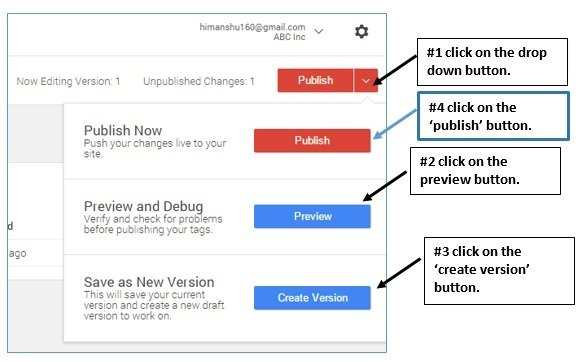 publish tag google tag manager