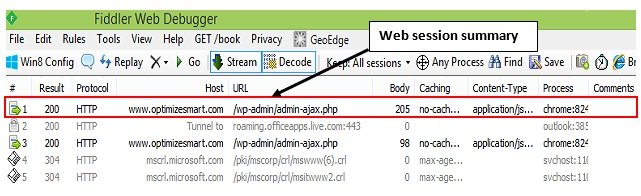 web session summary