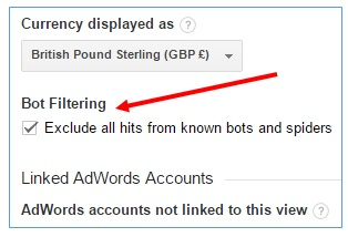 bot filtering google analytics