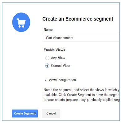 create cart abandonment ecommerce segment