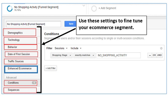 ecommerce segment settings