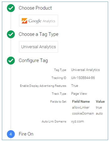 Universal Analytics tag configuration