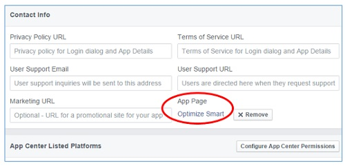 select facebook app page