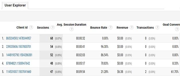 User Explorer Report in Google Analytics