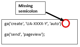 missing semicolon