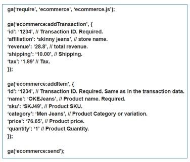 ecommerce tracking code