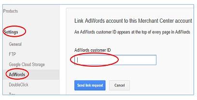 merchant center adwords link