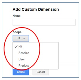 custom dimension scopes