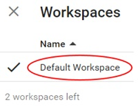 default workspace