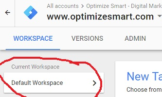 Default Google Tag Manager Workspaces
