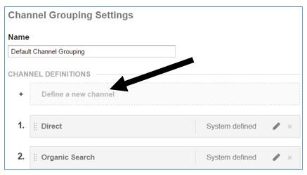 define a new channel button