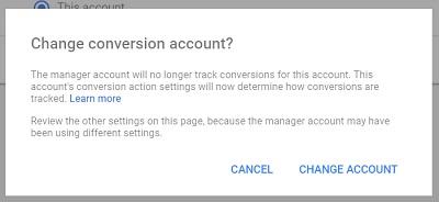 change conversion account