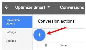 conversion actions button