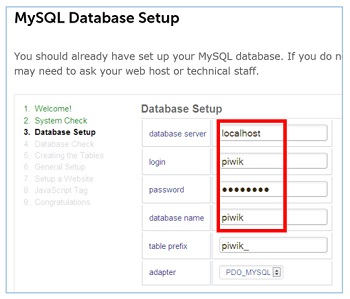 my sql database setup