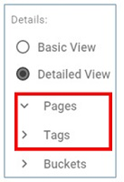 expand collapse pages tags