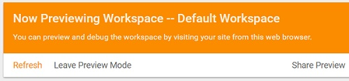 now previewing workspace