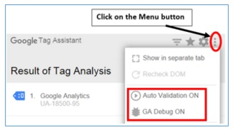 tag assistant menu button