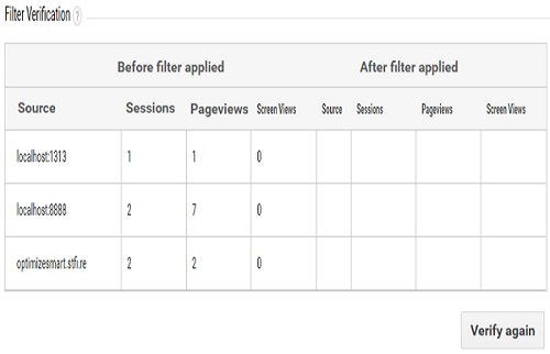 filter verification preview table