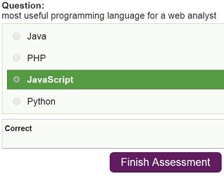 finish assessment button
