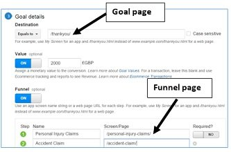 goals funnel pages