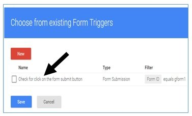 choose from existing form triggers