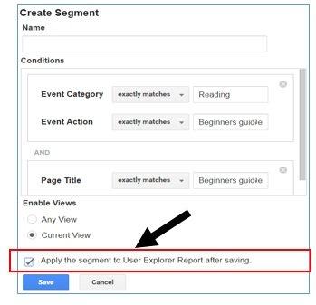 create segment dialog box