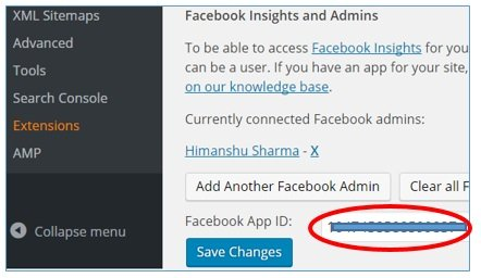 facebook app id wordpress