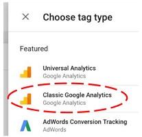 classic google analytics tag