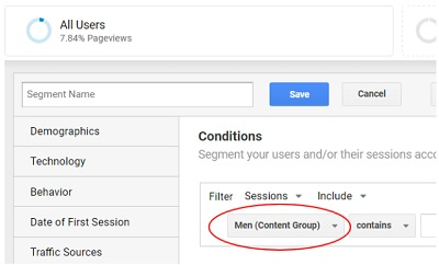 content grouping advanced segments