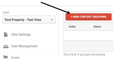 new content grouping button