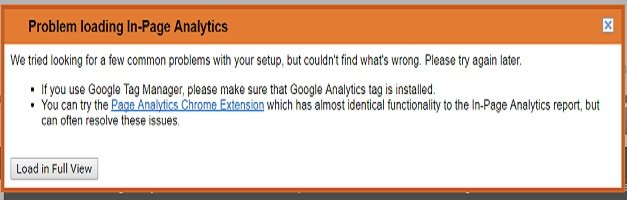 problem loading in page analytics