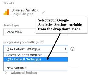 settings variable drop down menu
