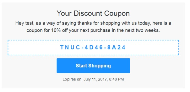 your discount coupon