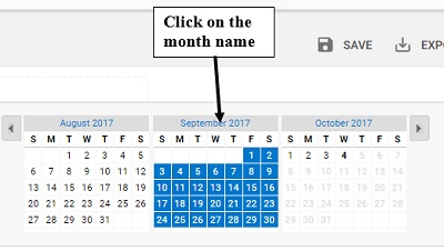 click on month name