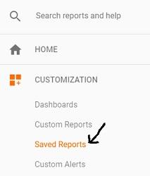 saved report google analytics