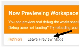 leave preview mode button
