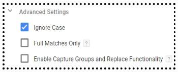 advanced settings regex table variable